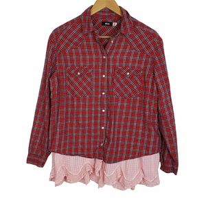UO BDG red blue plaid layered petticoat flannel
